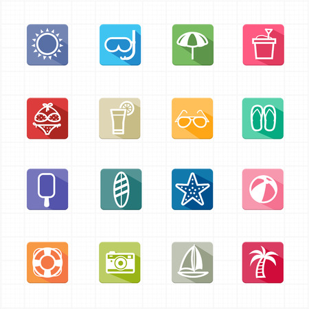 Flat icons summer beach and white background