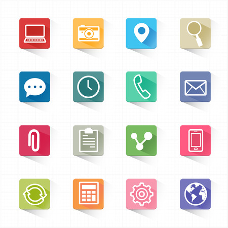 global settings: Web mobile applications flat icons set and white background  Illustration