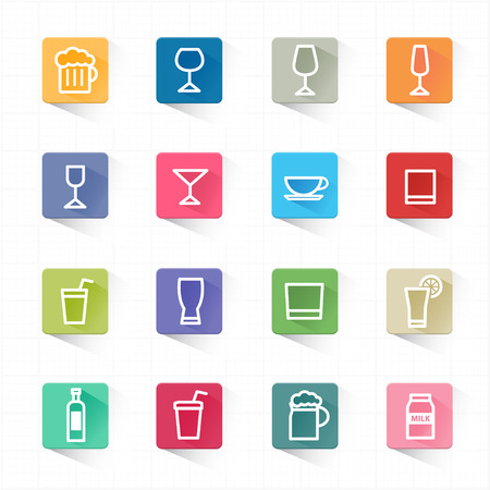whie wine: Drink cocktail flat icons set and white background