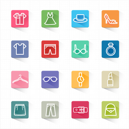 Fashion flat icons set and white background  Vector