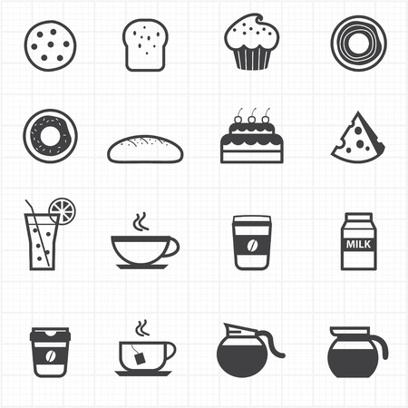 Bakery and drink icons Vector