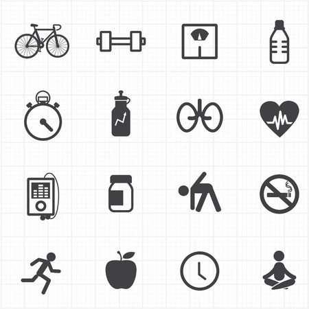 fitness instructor: Fitness healthcare icons set