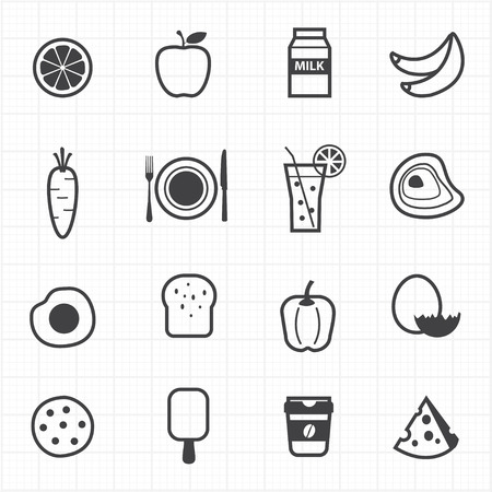 Food and fruits icons set Vector
