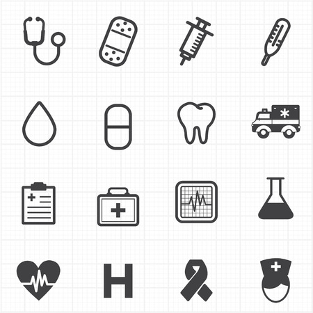 Healthcare medicine icons set Vector