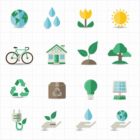 save electricity: Green energy icons