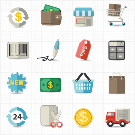 shopping cart: Business finance and shopping icons