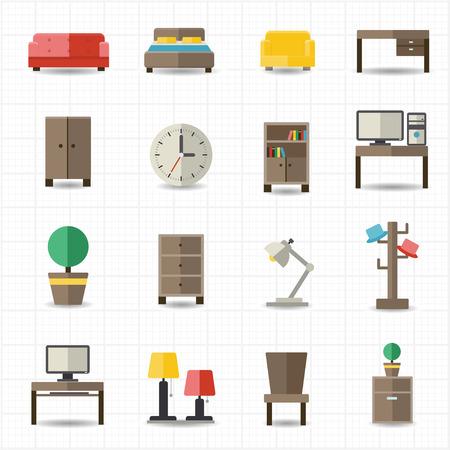 mobilier bureau: Maison et mobilier de bureau int�rieurs Illustration