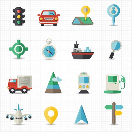 Kaartnavigatie en transport Stock Illustratie