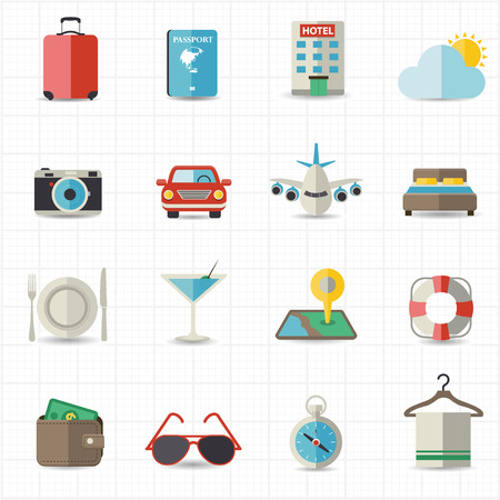 Travel and hotel holiday icons