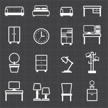 mobiliario de oficina: Interiores de las casas, muebles de oficina y el fondo negro Vectores