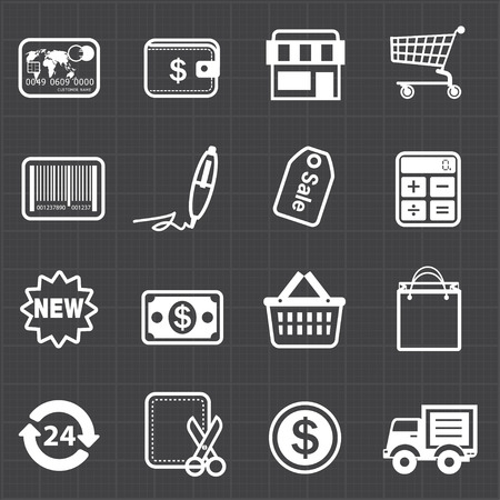 Business finance shopping icons and black background  Vector