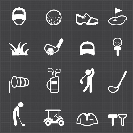 Golf sport icons and black background  Vector