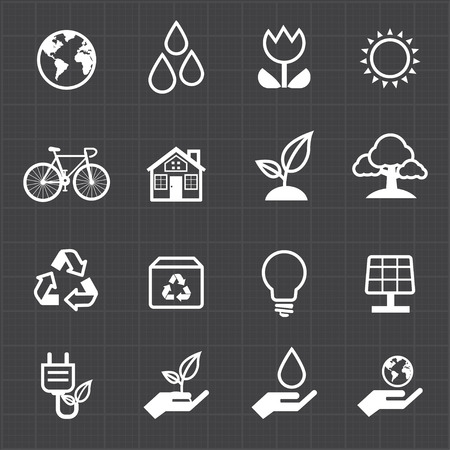 sun protection: Green energy icon and black background  Illustration