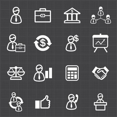 Management business icons and black background  Illustration