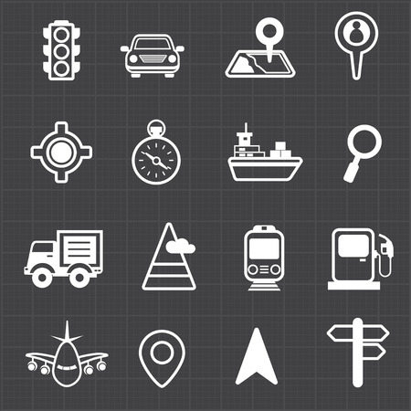 Map navigation transportation and black background  Vector