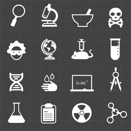Science education icons and black background  Illustration