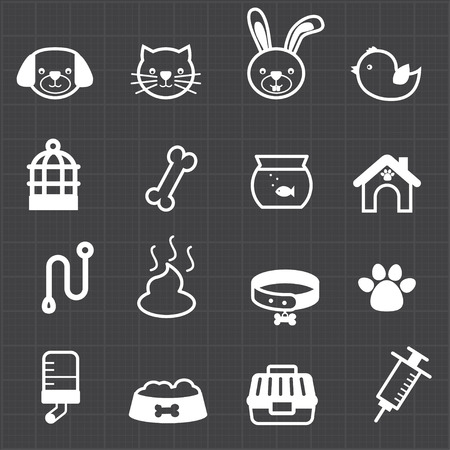 Pet icons and black background  Vector
