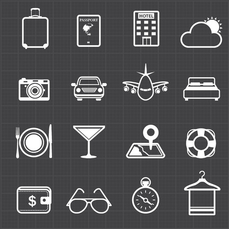 Travel hotel holiday icons and black background  Vector