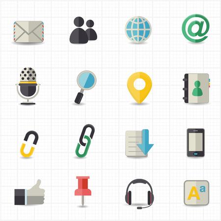 De Comunicación e Internet iconos