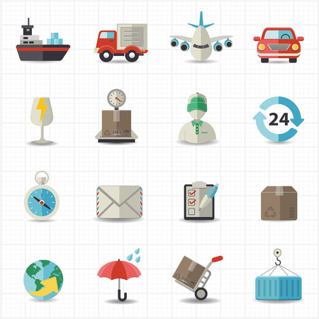 Logistic shipping and transportation icons Vector