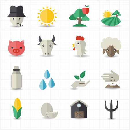 whole chicken: Farm icons set  Illustration