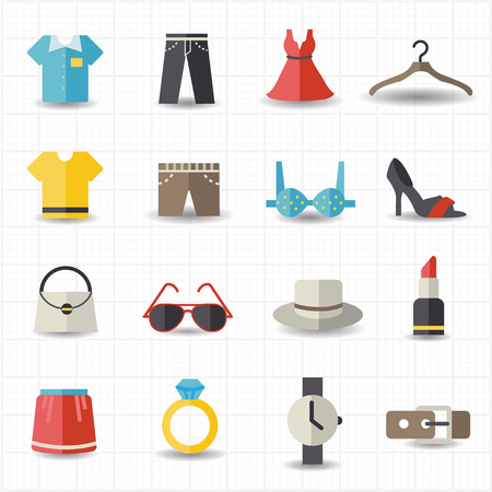 fashion clothing: Fashion and clothes icons  Illustration