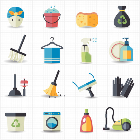 flat brush: Cleaning icons  Illustration