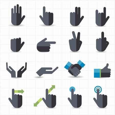 hand signal: Hand gesture black icons  Illustration