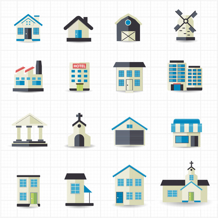 Home building icons   イラスト・ベクター素材