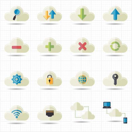 Cloud computing network icons vector  Vector