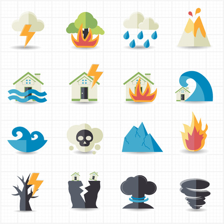 Natural disaster icons  Çizim