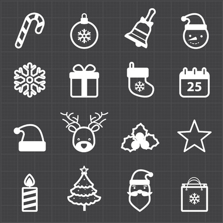 Christmas icons and black background  Vector