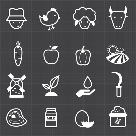 Farm icons and black background  Vector