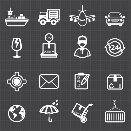Logistic shipping transportation icons and black background  Vector