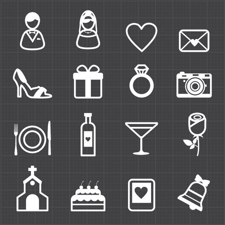 Wedding icons and black background  Vector