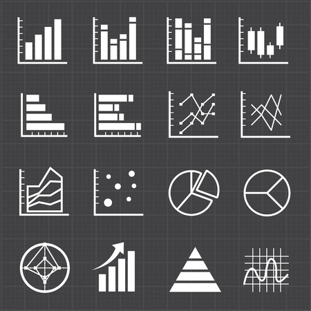 histogram: Graph chart icons and black background  Illustration