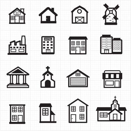 house building: Building, house icons  Illustration