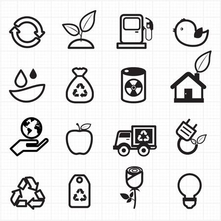 eco energy: Eco energy, green icons  Illustration