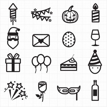 Viering van de Partij pictogrammen Stock Illustratie
