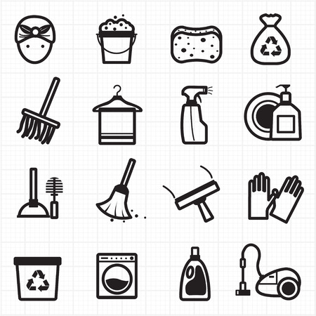recycle icon: Cleaning black icons