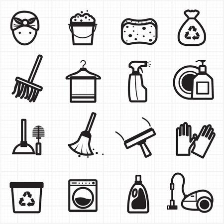 Reiniging van zwarte pictogrammen Stock Illustratie
