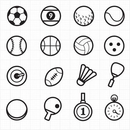 Sport zwarte pictogrammen Stock Illustratie