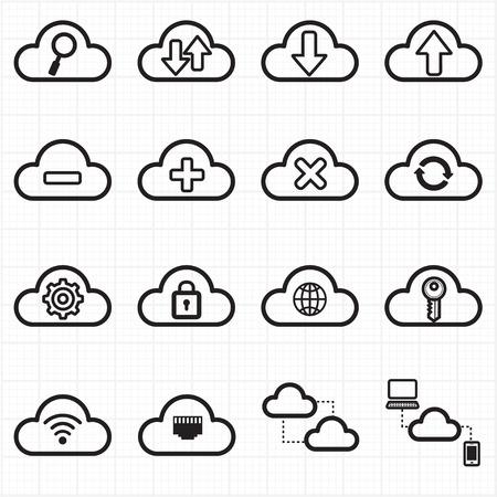 Cloud computing netwerk pictogrammen Stock Illustratie