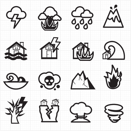 Natural disaster icons vector Vector