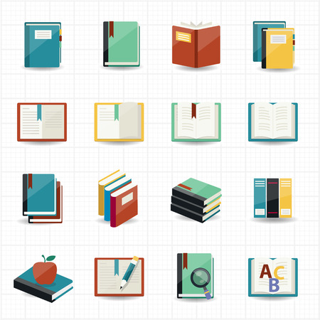 dictionary: Books icons and library icons with white background  Illustration