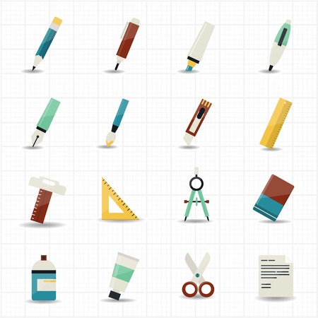 Drawing painting tools icons and stationery set with white background  Ilustração