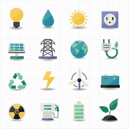 eficiencia energética: Iconos de la energía de alimentación fondo blanco