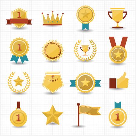Trofee en prijzengeld pictogrammen met witte achtergrond