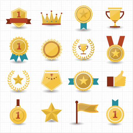 Trophy and prize icons with white background  Vector