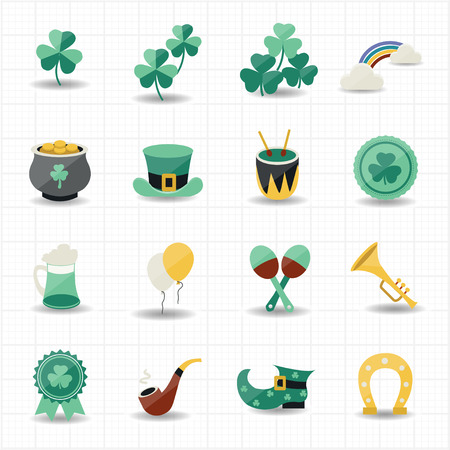 st patricks day icons with white background